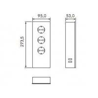 Блок розеток POWER TURM (3 розетки + 2 USB), защитный экран - нержавеющая сталь