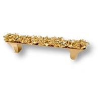 """01.96 MO19 Ручка скоба """"Bouquet"""" эксклюзивная коллекция, глянцевое золото 24 к, 96 мм"""
