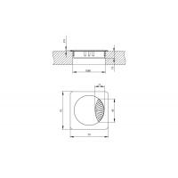 Заглушка кабель-канал, 70x70, d.60, отделка хром глянец