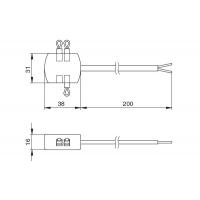 Блок распределительный L803-SC на 4 подключения, с проводом 200 мм и 3 перемычками