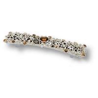 14.128.MO07 Ручка скоба с кристаллами Swarovski эксклюзивная коллекция, глянцевое серебро 128 мм