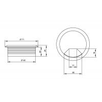Заглушка кабель-канал, d.60, отделка темно-коричневый