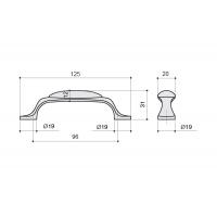 M10.01.02.02 Ручка-скоба 96мм, отделка бронза старая + керамика