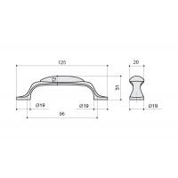 M10.01.69.15 Ручка-скоба 96мм, отделка серебро старое + керамика