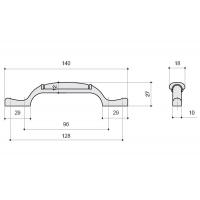 M17.01.205.02 Ручка-скоба 96-128мм, отделка бронза старая + керамика