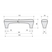 M24.01.69.15 Ручка-скоба 96мм, отделка серебро старое + керамика