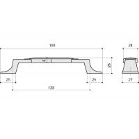 M31.19.191.15 Ручка-скоба 128мм, отделка серебро старое + керамика