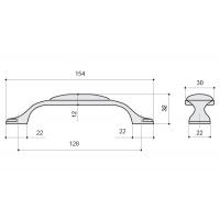 M34.19.174.15 Ручка-скоба 128мм, отделка серебро старое + керамика