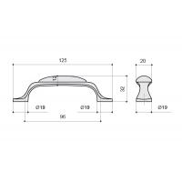 MZ.010.C.02-52 Ручка-скоба 96мм, отделка бронза старая + гравировка