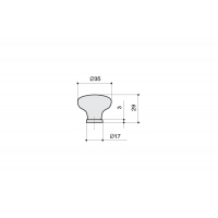P03.01.122.27 Ручка-кнопка, отделка медь античная + керамика