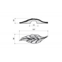 """15078Z032D0.78 Ручка-скоба """"Листок"""" L=32мм, правая, под серебро, New"""