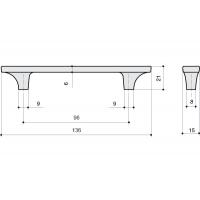 15200Z0960N.C32 Ручка-скоба 96мм, отделка никель глянец + ваниль