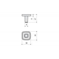 24064Z0300B.X32 Ручка-кнопка, отделка никель глянец + оранжевый/красный