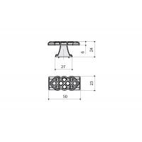 24144Z05000.25T Ручка-кнопка, отделка серебро старое (1 винта М4х22 + 1 винт М4х25)