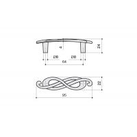 EA036Z064S0.69 Ручка-скоба 64мм (левая), отделка серебро лунное