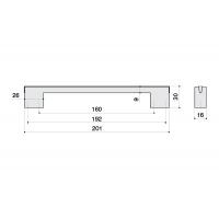 CH0200-160192.DC Ручка-скоба 160-192 мм, отделка хром матовый, под вставку