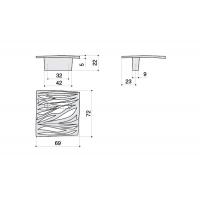24106.D500.G Ручка-кнопка, отделка никель глянец чёрный