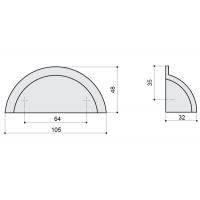 HN-I-3771-64-I Ручка-скоба 64мм, отделка железо