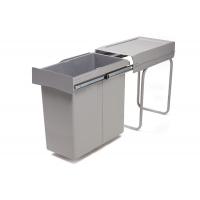 Ведро для мусора (40л) выдвижное, пластик серый