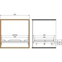 Полка с бортиком в базу 600 с алюминиевой рамкой под стекло, отделка хром