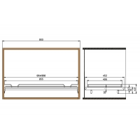 Полка с бортиком в базу 900 с алюминиевой рамкой под стекло, отделка хром