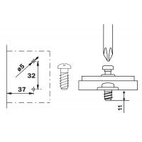 Ответная планка Н2 с евровинтом, Clip-on, отделка никель