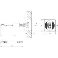 Заглушка кабель-канал, 90x90 (4 x USB), отделка черная