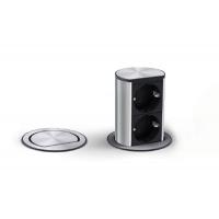 Встраиваемый блок ELEVATOR (2 розетки Schuko, 220В), отделка сталь нержавеющая/чёрный