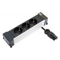 Модуль Power Frame (3 розетки Schuko, 220В), отделка алюминий/чёрная