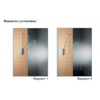 Пантограф, лифт для одежды, отделка белая + никель 770-1200мм