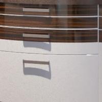 Фасады гнутые МДФ комбинированные эмаль и шпон 3 полосы