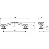 12499.B14M Ручка-скоба 96мм, отделка серебро старое