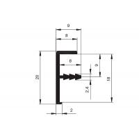 Профиль кромочный для 18мм , L=3000мм, отделка черная