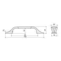 """M81.X01.G4.MD1G Ручка-скоба 96мм, отделка бронза античная """"Флоренция"""" + керамика"""