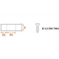 BAP3R29 Клип-ответная планка Н2 под шуруп, прямоугольная, клип-серия DOMI, SALICE