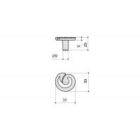 24165Z0350B.25 Ручка-кнопка, отделка серебро старое