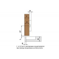 Петля 110 накладная без пружины, 48мм, Clip-on (cam), отделка никель