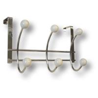 902BL Вешалка на дверь,хромированная с кнопками из белого фарфора