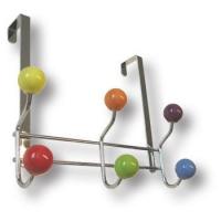 903SU Вешалка на дверь, хромированная с цветными кнопками из фарфора