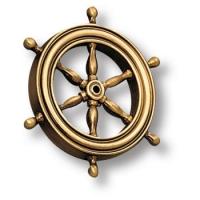 Накладка декоративная в форме штурвала морская коллекция, античная бронза