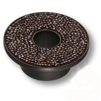 STONE32/N-SW/R Ручка кнопка c гранатовыми кристаллами Swarovski, цвет покрытия - чёрный 32 мм