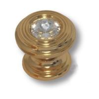 9953-100 Ручка кнопка с кристаллом Swarovski эксклюзивная коллекция, глянцевое золото