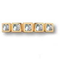15.183.128.SWA.19 Ручка скоба с кристаллами Swarovski эксклюзивная коллекция, глянцевое золото 128мм