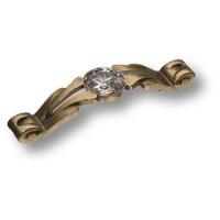 15.166.96.SWA.12 Ручка скоба с кристаллами Swarovski эксклюзивная коллекция, античная бронза 96 мм
