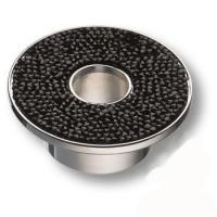 STONE32/CP-SW/N Ручка кнопка c чёрными кристаллами Swarovski, цвет покрытия - глянцевый хром 32 мм