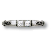 15.129.64.SWA.16 Ручка скоба с кристаллами Swarovski эксклюзивная коллекция, античное серебро 64 мм