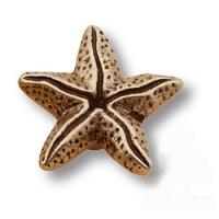 506L212 Ручка кнопка звезда морская коллекция, старая бронза