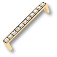 MT9141A-10 Ручка скоба с кристаллами эксклюзивная коллекция, глянцевое золото 128 мм