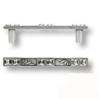 15.134.96.SWA.16 Ручка скоба с кристаллами Swarovski эксклюзивная коллекция, античное серебро 96 мм