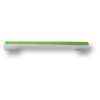182160MP02PL13 Ручка скоба модерн, глянцевый хром с зеленой вставкой 160 мм